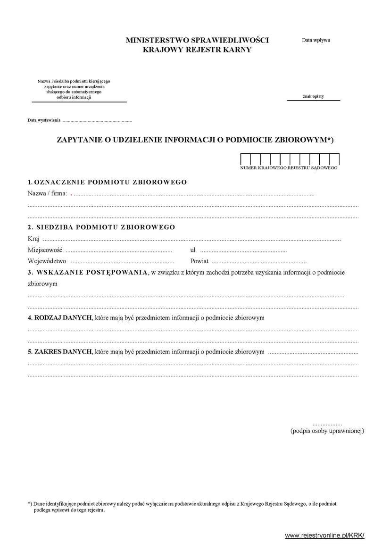 wzór wniosku zapytania do KRK dla podmiotu zbiorowego